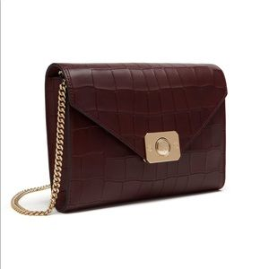 Mulberry Delphie Clutch oxblood croc embossed NWT